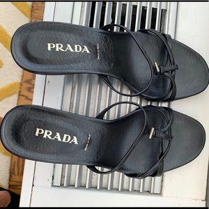Prada black low heel strappy sandal, 6.5 (36.5)